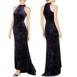 Calvin Klein Navy Velvet Beaded Formal Gown 8